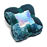 Kingole Faux Fur Oversized Throw Blanket, Thick and Warm Luxurious Plush Travel Sherpa Blanket for Couch Sofa Bed, 50 x 60 Inch, Peacock Blue