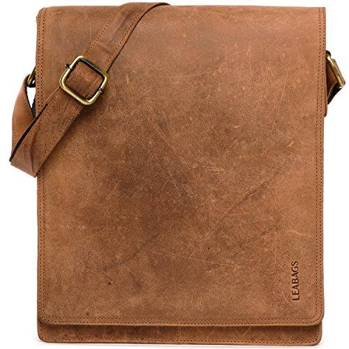 LEABAGS London Leder-Umhängetasche I Laptoptasche bis 13 Zoll I Messenger Bag aus echtem Büffel-Leder im Vintage Look I Schultertasche I Arbeitstasche I 26x8x31cm (Braun)