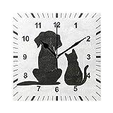 ISAOA Reloj de pared cuadrado sin garrapatas, diseño de gato negro y perro son amigos reloj de pared decoración para el comedor, sala de estar, dormitorio, oficina, escuela
