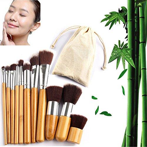 Ensemble De Brosses De Maquillage, Ensemble De Brosse De Maquillage D'Ombre D'Oeil De Bambou, Ensemble De Brosse De Maquillage Avec 11Pcs/Sac Ensemble