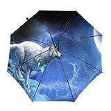 Paraguas automáticos a Prueba de Viento Moonlight Wolf Moon Night Nature Plegable Protección UV Paraguas Bolsa de Transporte