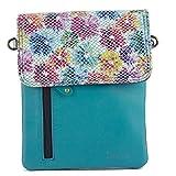 Sunsa - Bolso de piel para mujer, pequeño, multicolor, bolso de hombro, mini bolso de mensajero, bolso para mujer, bolso cruzado, bolso de piel upcycled