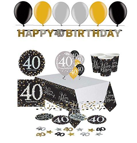 40.ster Geburtstag. Komplettes Party Set zum 40 Geburtstag Gold Schwarz Silber plus Glitter, 41 Teile komplette Dekoration zum 40 Happy Birthday