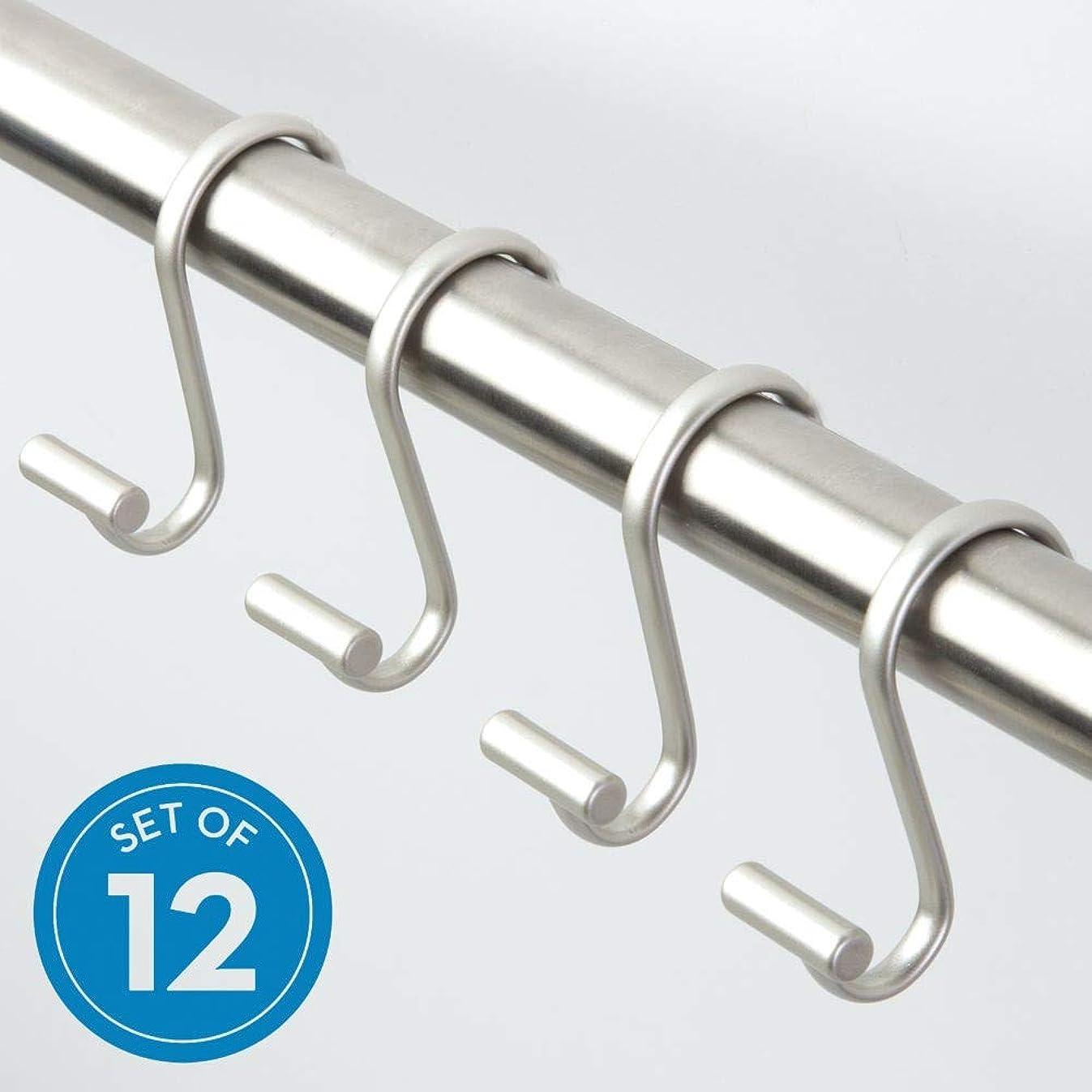 InterDesign Metal T-Bar Shower Curtain Hooks Rust Resistant Rings for Kid's, Guest, Master Bathroom, 1