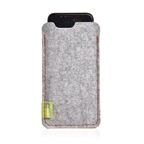 """Almwild® Hülle Tasche für Apple iPhone SE (2020), iPhone 8. Modell """"Dezenzi"""" in Alpstein- Grau aus Natur- Filz. Handyhülle Handytasche in Bayern handgefertigt"""