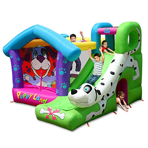 ACTION AIR Bounce House, Puppy Bouncy Castle with Slide, Inflatable Bouncer Included Air Blower for Kid, Durable Sewn with Extra Thick Material, for Kids (9109)
