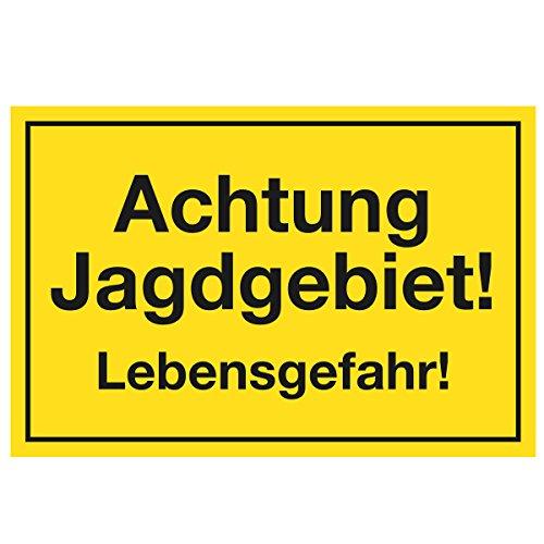 WANDKINGS Hinweisschild - Achtung Jagdgebiet! Lebensgefahr! - stabile Aluminium Verbundplatte - Wähle eine Größe - 40x30 cm