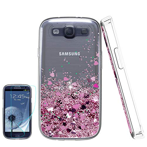 Galaxy S3 Phone Case, Galaxy S3 (S III I9300 GS3) Cases with HD Screen Protector for Girls Women, Luxury Glitter Diamond Quicksand Clear TPU Protective Phone Case for Samsung Galaxy S3 Rose Gold