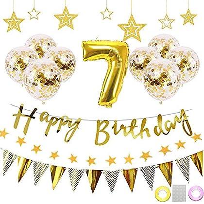 7歳 誕生日 飾り付け HAPPY BIRTHDAY 装飾 ゴールド きらきら風船飾り パーティー 装飾 バースデー デコレーション 男の子、女の子 (1歳〜9歳、100day)