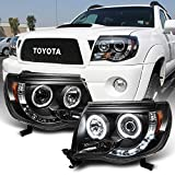 ACANII - For 2005-2011 Toyota Tacoma LED DRL Halo Ring Black Housing Projector Headlights Headlamps, Driver & Passenger