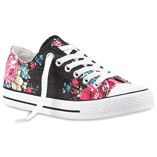 stiefelparadies Damen Sneakers Blumen Freizeit Denim Sneaker Low Stoff Turn Schuhe 114360 Schwarz Blumen-Muster 37 Flandell