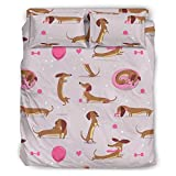 Lind88 Juego de 4 fundas de edredón y fundas de almohada de animales de Dachshund – Juego de funda de edredón suave y cómoda, 175 x 218 cm, color blanco
