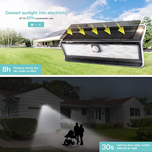 EZBASICS Solar Lights Outdoor, 200 LED Solar Motion Sensor Lights Outdoor with 3 Optional Modes, IP65 Waterproof, Wide-Angle Design, Solar Powered Security Light for Front Door, Yard, 2 Pack