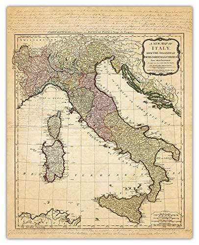 Vintage Italy Map Wall Art Print - (8x10) Photo Unframed Make Great Room Wall Decor Gift Idea Under $15