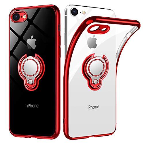iPhone SE ケース 第2世代 iPhone7 ケース iPhone8 ケース【2020年新型】 リング 透明 クリア リング付き tpu シリコン スリム 薄型 4.7インチ スマホケース 耐衝撃 ストラップメッキ加工防止 一体型 人気 携帯カバー レッド
