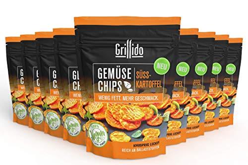 Grillido Gemüse Chips - Süßkartoffel I 9er Pack I 9x25g I 100% natürlich I wenig Fett I schonend getrocknet - Vitamine und Ballaststoffe bleiben erhalten