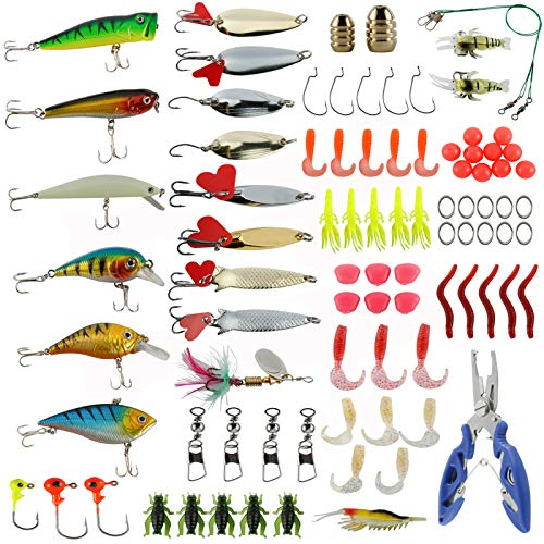 Sparkfire 89Pcs Fishing Lures Set, Fishing Bait for Trout, Bass, Salmon Including Lures Hook, Plastic Worms, CrankBait, Topwater Lures with Fishing Pliers Scissors