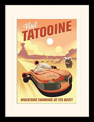 1art1 Star Wars - 40th Anniversary Tatooine Gerahmtes Bild Mit Edlem Passepartout | Wand-Bilder | Kunstdruck Poster Im Bilderrahmen 40 x 30 cm