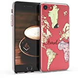 kwmobile Funda Compatible con Apple iPhone 7/8 / SE (2020) - Carcasa de TPU y Mapa Mundial en Negro/Multicolor/Transparente