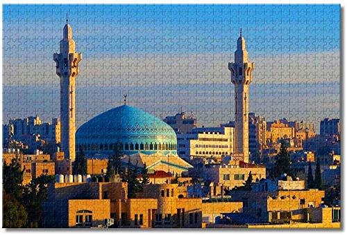 LFNSTXT Jordan King Abdullah I Mosqu Amman Puzzle für Erwachsene Kinder 500 Teile Holzpuzzle Spiel für Geschenke Heimdekoration Besondere Reise-Souvenirs