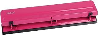 Eagle Desktop 3 Hole Punch, Paper Puncher, Heavy Duty,12 Sheet Capacity, Metal (Deep Pink)
