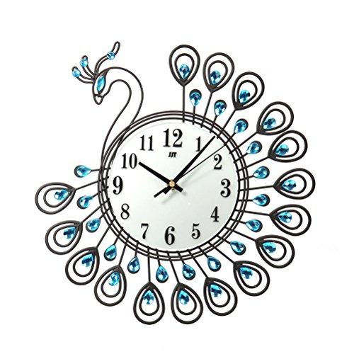 Rosenice Horloge murale en métal silencieuse Motif paon Noir