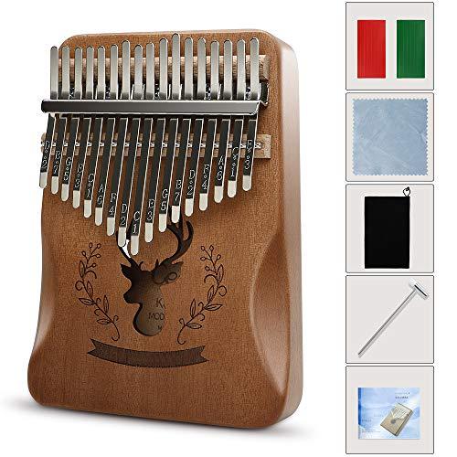 EXTSUD 親指ピアノ カリンバ 17キー kalimba カリンオルガン初心者 入門楽器 操作簡単 スタディガイド トーンハンマー 指スリーブ 収納バッグ付き ナチュラルカラー (スタイルC)