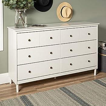 Walker Edison Wood Dresser Bedroom Storage Drawer Organizer Closet Hallway 6 White