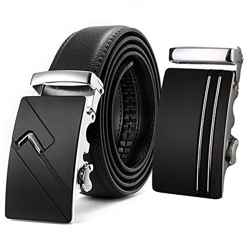 AKPOWER Cinturón Hombre Cuero - Cinturones Piel Automática Con Hebilla Trinquete
