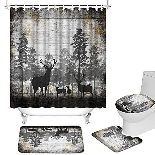RnnJoile 4 Pcs Shower Curtain Set for Bathroom Rustic Deer Family in Forest Shower Curtain Set with Non-Slip Rug Toilet Lid Cover Bath Mat and 12 Hooks Vintage Animal Waterproof Shower Curtain Set