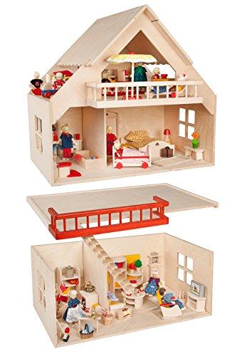 Rülke Holzspielzeug 23210 Puppenhaus, holzfarben, rot