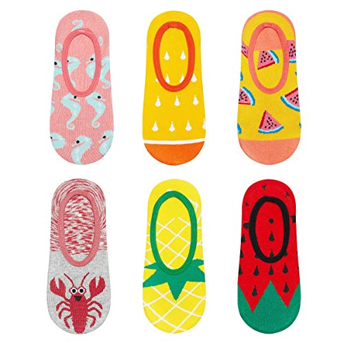 soxo Damen Unsichtbare Bunte Sneaker Socken | Größe 35-40 | 6er Pack | Baumwolle Kurze Füßlinge mit lustigen Motiven | niedriger Schnitt | Perfekt für flache Schuhe | tolle Ergänzung für Ihre Garderobe