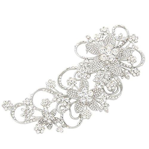 EVER FAITH Broches Finas Mujer Seire de Flor - Flores Viñas Elegante para Regalo Boda Fiesta Silver