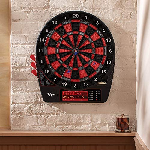 Viper by GLD Products Specter Electronic Dartboard Pro Size 50 Games Auto-Score Double Height LCD Display Scoreboard with Impact-Tough Nylon Target for Lasting Durability included Soft Tip Darts and Power Adapter, black, 1