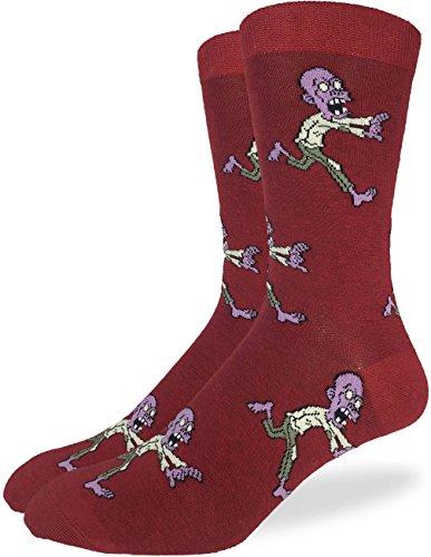 Good Luck Sock Men's Zombie Halloween Socks - Red, Adult Shoe Size 7-12