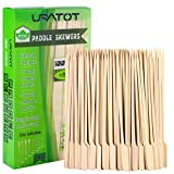 URATOT 100 Pieces Bamboo Paddle Skewers Natural Wooden Cocktail Sticks Picks for Barbeque, Kebabs, Cocktails Buffet Party
