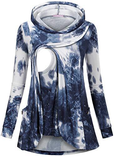 JOYMOM Nursing Tops for Women,Tie Dye Long Sleeve Shirts Maternity Fashion Print Breastfeeding Hoodies Mom Split Wrap Hem Button Decor Dressy Tunics Postpartum Sweatshirts Blue White S