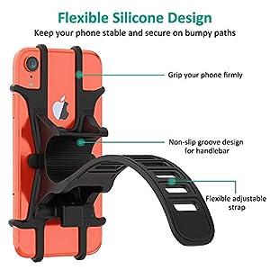 """Bovon Soporte Movil Bicicleta, Soporte Universal Manillar de Silicona para Bicicleta de montaña y Motocicleta, Soporte Movil Moto para iPhone 11 Pro/11/XR/X/XS, Samsung S9/S8 y 4.0""""-6.5"""" Smartphones"""