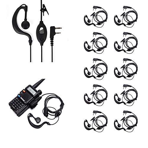 Ybee Headset mit Mikrofon für Baofeng UV 5R/5RA/5RA+/5RB/5RC/5RD/5RE/5RE+ 666s 777s 888s, 10 Stück