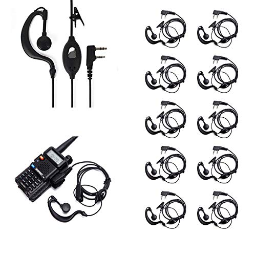 Ybee Newest 10 Pack Earpiece Headset Mic for Baofeng UV 5R/5RA/5RA+/5RB/5RC/5RD/5RE/5RE+ 666s 777s 888s Two-Way Radio