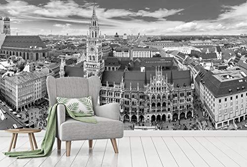 Vlies Tapete XXL Poster Fototapete Bayern München Marienplatz Farbe schwarz weiß, Größe 400 x 200 cm selbstklebend