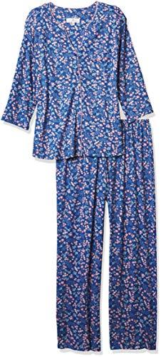 Karen Neuburger Women's Pajamas 3/4 Cardigan Long Sleeve Pj Set, Denim Ditsy, M
