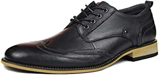 RongAi Chen Business Oxford for Men Formal Shoes Lace-up Genuine Leather Block Heel Low Top Anti Slip Lightweight Stitched Wood-Like Sole (Color : Black, Size : 11 UK)