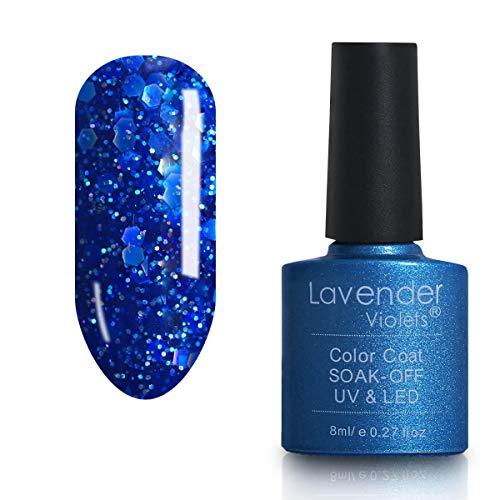Soak-off LED Gel Nail Polish Sparkle Blue 8ml