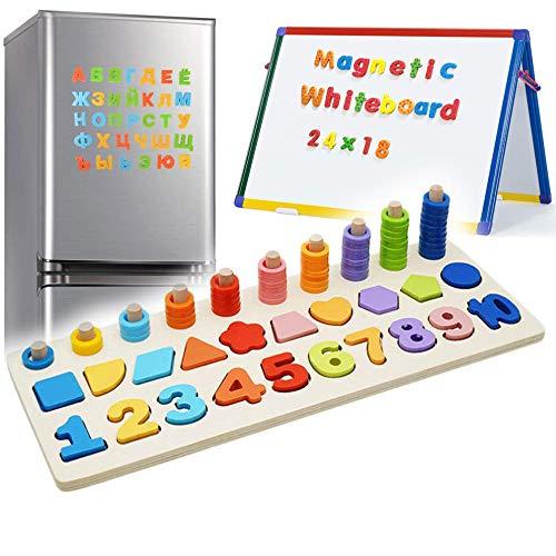 Zaaqio 3 en 1 Aprender a Contar Magnéticos de Madera para Chico Numeros de Madera Niños Magnéticos para 3 4 5 6 Años |Juego de Matemáticas de Madera