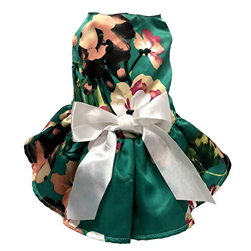 Cutie Pet Dog Dress Pet Flowery Silky Clothes Summer Christmas Valentine's Day Easter Party Dress