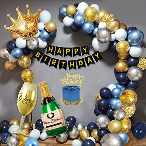Décorations d'Anniversaire Hommes, Décorations Fête Or Bleu avec Bannière d'Anniversaire, Ballon Feuille Couronne, Ballons Métalliques Argent Or Bleu Marine pour Décorations d'Anniversaire Hommes