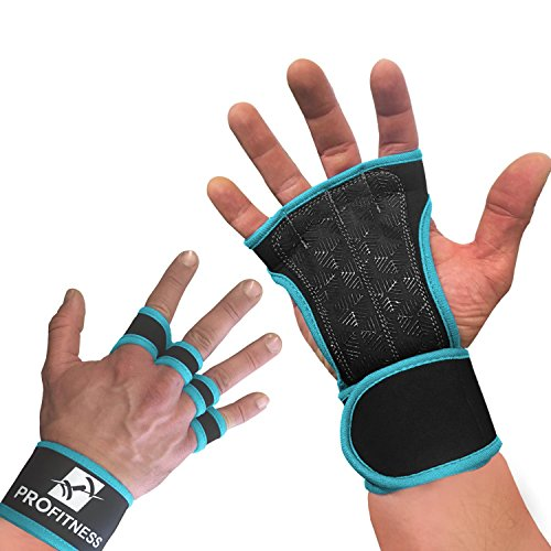 ProFitness Neoprene Workout Gloves with Silicone Non-Slip Grip – WODs, Weightlifting, Cross Training – Wrist Strap Support – Unisex for Men and Women (Turquoise, Large)
