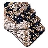 3D Rose Image of Black and Gold Speckled Granite Ceramic Tile Coasters