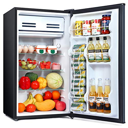 Mini Fridge with Freezer, 3.3 Cu Ft, Energy Star, Single Door, Low noise, Removable Glass Shelves, Compact Refrigerator for Bedroom, Office, Garage, Studio, Dorm with 3 Temperature Settings